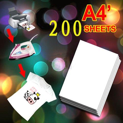 200 X A4 T Shirt Transfer Paper Tshirt Inkjet Iron On Heat 8.5x11(China (Mainland))