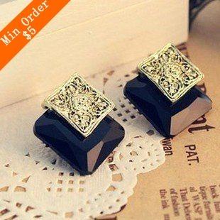 2014 New Fashion Hot Selling Foreign Trade Three-Dimensional lovely Stars Black Gem Earrings Bronze Flower 66E99