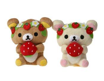 Free shipping  2 Plush Rilakkuma Bear Figure With Strawberry Decoration toys for girls