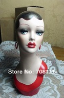 Vintage Hand-painted Earring Mannequin Head For Jewelry And Hat Display