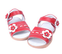 baby girls shoes soft leather sandals white+red  velcro strap open toe flowers new arrival