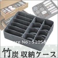 Sales Crazy! storage expert ! 14 slots non-woven bamboo charcoal underwear/Bra Storage box  36X27X10CM 3pcs/lot Free Shipment