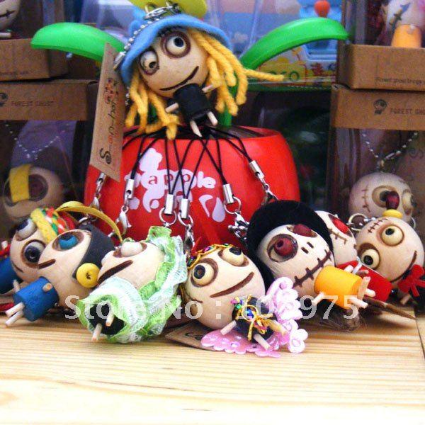 30 Pcs x New Forest Spirit Figure Phone Smartphone Handbag Schol Bag Charm wooden & wacky Voodoo adorable Gift Idea(China (Mainland))
