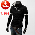 free shipping2012 New Casual Men&#39;s Stylish  Slim Short Sleeve Shirts Fit Checked T-Shirts Tee 3 Color 4 Size(China (Mainland))