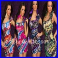 Free shipping One shoulder Mini Dress With Feather Print Women sexy clubwear Dress new fashion 2012 Wholesale 12pcs/lot  2527