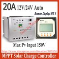 Brand New 20A Tracer2215 mppt solar controller with MT-5 remote display,12/24V auto work,150V DC max pv charge controller
