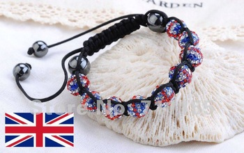 Factory Price,Bling Bling Mirco Pave CZ Crystal Ball Bead UK Flag Shamballa Bracelet British London Olympics