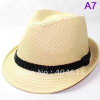 wholesale adult good quality knitted straw cap women and men summer fashion fedora hats