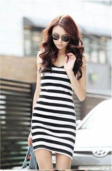 free shipping  summer long design slim stripe dress female black and white stripe vest women's basic shirt spaghetti strap sy031