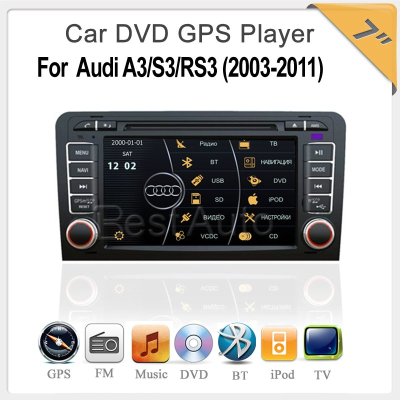 high quality For Audi A3/S3/RS3 (2003-2011) Virtual 8 DISC,3D UI 7.0'' Car DVD,IPOD Bluetooth TV GPS, Radio, PIP,MP5, CANBUS(China (Mainland))