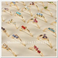 Mix Lots of 20 PCS Mixed Style Gold Plated Rhinestone Crystal Lady's Rngs A012