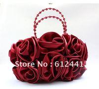 Elegant Woman Lady Girl Silk Satin Flowers Bride Bag Evening Bag Tote Bag Handbag
