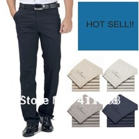 Free Shipping Hotsell Summer Men's Casual Straight Leisure Trousers Grey/Beige/DK blue/Khaki Size:29-40 wholesale and retail