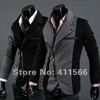 Black/Dark grey new suit for men irregular front design zipper jacket contrast color slim suit blazers US XS-L free shipping X08