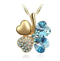Free shipping Crystal Gold Four leaves Clover Pendant Necklace jewelry set 9 color mixed