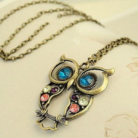 Min.order is $15 (mix order)Fashion Lovely vintage Colorful Cute OWL Necklace Freeshipping