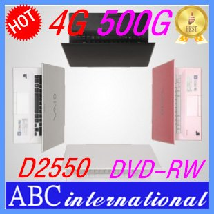 14inch Branded Original Computer&Laptop 4G 500G Hard Disk d2550 DVD-RW Burner Russian Brazil French keyboard and Languag win7