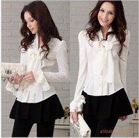 Japan and South Korea blouses wholesale white bow Slim speaker sleeve shirt wild shirt