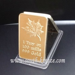 Free shipping wholesale 5PCS/LOT Canadian maple leaf ingots 1 troy OZ 100mills 999Gold Iron with gold plated bullion bar(China (Mainland))