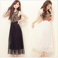 2012 new style Free Shipping ladies fashion dress/ patchwork loepard dress /summer long dress