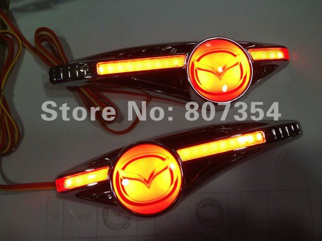 free shipping, The Car Sticker side Turn signals light For Mazda all car, LED lighting by car Sticker to install, Brilliant!(China (Mainland))