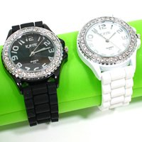 Diamond Decorating Fashion Ladies'  Women's  Wrist Watch With Silicon Stap Free Shipping # L05154