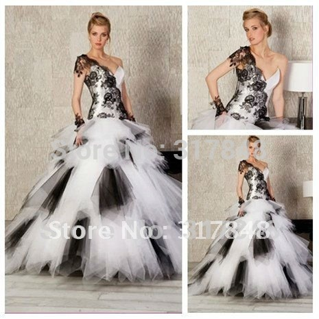 Shoulder Black Dress on One Shoulder Lace Black And White Ball Gown Wedding Dresses Romantic