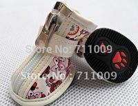 Wholesale & Retail Antiskid Print Zipper Velcro Waterproof Dog Boots Free Shipping