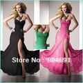 A-line Blue Green Black Chiffon Long Evening Dress Strapless Prom Dress Stock Formal Gown Sweetheart Bridal Party Dress E20A