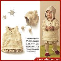 Free shipping sale 6pcs / lot Kids fashion Baby clothing autumn winter lamb vest dress + golf ball hat Children clothes CD030