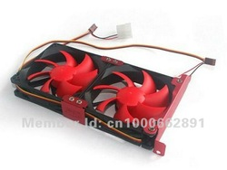 New PC Computer Case Cooling System PCI Slot Video Card Slot Cooler Cooling Fan 2 x 90mm(China (Mainland))