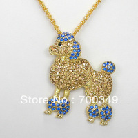 Wholesale 12piece/lot Light Colorado Topaz and Sapphire Crystal Rhinestone Poodles Necklace pendant F368 G