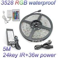 Free Shipping 5M 3528 RGB waterproof Flexible Strip 300 Led 60 led/Meter + 24 Key IR remote Controller+12V 3A Power Supply