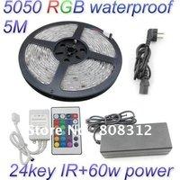 Free Shipping 5M 5050 RGB waterproof Flexible Strip 300 Led 60 led/Meter + 24 Key IR remote Controller+12V 5A Power Supply Kit