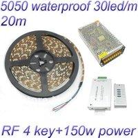 Free Shipping 20M 5050 RGB waterproof Flexible Strip tape 150 Led 30led/Meter + RF 4 key Controller+12V 12.5A power supply