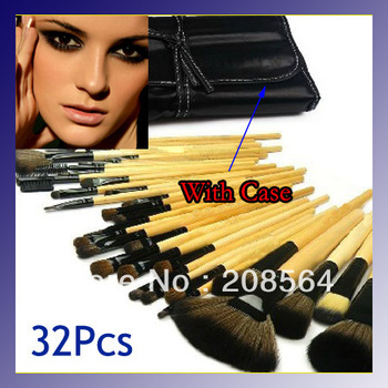 New Convenient 32pcs Pro Cosmetic Tool Makeup Brush Set Black Bag Case Make Up Brush Set Kit Yellow/Black Handle 267