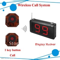 DHL freehipping Wholesale price Restaurant Paging System  ; One Year Warranty ; A set of 1 display and 5pcs call button