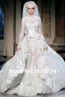 2013 Luxury Muslim Design High Collar Long Sleeves Lace Wedding Dresses Royal Mermaid Bridal Wedding Gown
