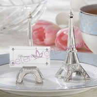 BeterWedding Decoration wholesale WJ029 Evening in Paris-Eiffel Tower Silver-Finish Place Card holder(50pcs/lot)Wedding Gift