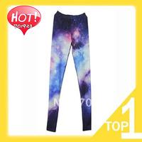 Free shipping 2014 new hot sale womens Galaxy Cosmic Space Tie Dye Printed Skinny Leggings pants Y3430