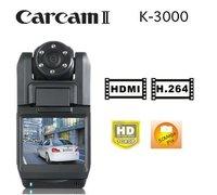 "Free Shipping Carcam K3000 Car Black BOX 2.0""TFT LCD HD 1440*1080P (15FPS)270 degree rotation 140 Degree+ Wide angle Lens DVR"