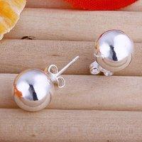 E074 Wholesale Ball Beads Silver Stud Earrings 925 prata  boucle d'oreille Mujer pendientes atacado de bijuteria