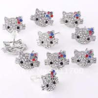 Wholesale 10pcs/lot Multicolor Crystal Hello Kitty Stainless Steel Earring