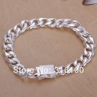 925 silver bracelet bangle men bracelet H037 gift bag free shipping