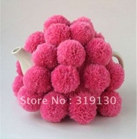 Free Shipping---- UK Style 100% acrylic wool handmade Knitted Tea Cosy with full fancy Pompoms