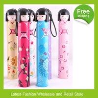DHL Free Shipping+Factory Wholesale 70pcs/Lot Japanese Girl Doll Cartoon Umbrellas 3-Folding Umbrella With retail box