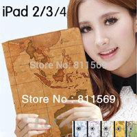 hot selling World map 360 Degrees Rotating cover for ipad for ipad 2 ipad 3 ipad 4