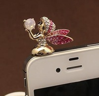 (mix order), Min order is $15,Full Stone Fashion Mobile Phone Angel Dustproof Stopper Headphones Stopper ,Free Shipping