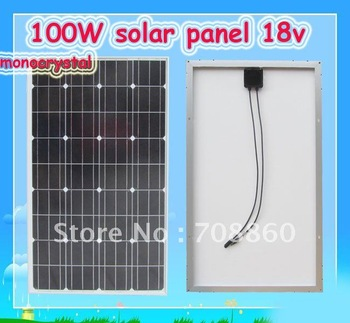 100W 12V Monocrystalline silicon solar panel high convert ratio,  DHL free shipping