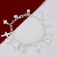 H144 Wholesale Designer Cross Lock Charm Silver Bracelets women 925 prata de pulseras women Mujer